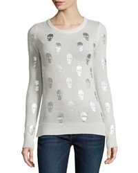 Philosophy Cashmere Cashmere Pullover Sweater W Foil Skull Print Pure Snowfall