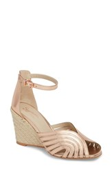 Seychelles Consciousness Wedge Sandal Rose Gold Suede