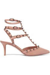 Valentino Rockstud Textured Leather Pumps Tan