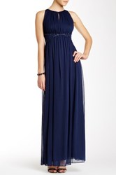 Js Boutique Embellished Waist Gown Blue