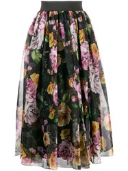 Dolce And Gabbana Floral Layered Ruched Skirt Black