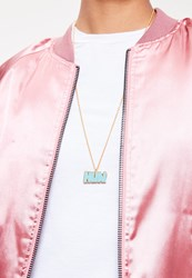 Missguided Blue Hun Charm Necklace