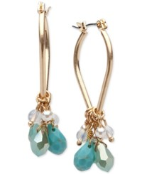 Lonna And Lilly Gold Tone Blue Bead Shaky Hoop Earrings