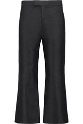 Marni Cropped Wool And Silk Blend Straight Leg Pants Black