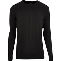 River Island Mens Black Ribbed Muscle Fit Long Sleeve T Shirt