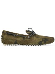 Car Shoe Camouflage Driver Loafers Green