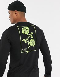 Bolongaro Trevor Long Sleeve T Shirt With Neon Rose Back Print Black