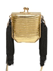 Alessandra Rich Mini Lizard And Leather Shoulder Bag Gold