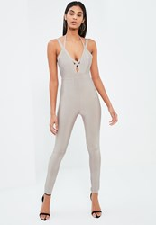 Missguided Grey Premium Bandage Strappy Harness Jumpsuit