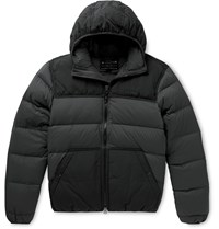 Filson Featherweight Canvas Trimmed Quilted Nylon Hooded Down Jacket Black
