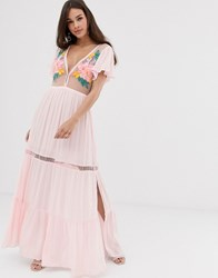 Cleobella Lyric Midi Dress With Embroiderry Detail Pink