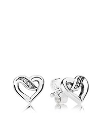 Pandora Design Stud Earrings Sterling Silver And Cubic Zirconia Pave Open Heart White Silver