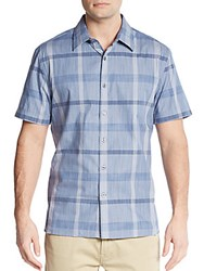Perry Ellis Regular Fit Oversized Check Cotton Sportshirt Bering Sea