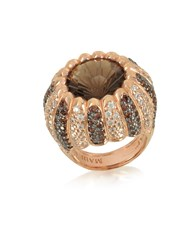 Azhar Rings Rose Sterling Silver Riccio Ring W Two Tone Cubic Zirconia And Brown Stone