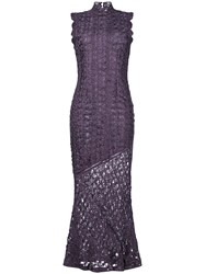 John Galliano Vintage Textured Fitted Gown Pink And Purple