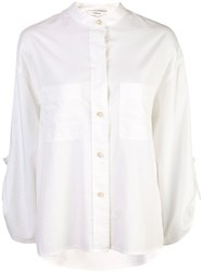 Vince Band Collar Wide Shirt White