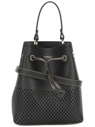 Furla Perforated Decoration Bucket Bag Brown