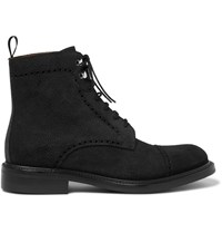 O'keeffe Felix Pebble Grain Nubuck Brogue Boots Black