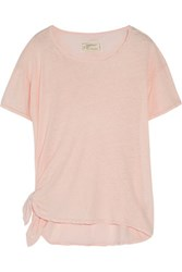 Current Elliott The Tie Up Tee Slub Linen And Cotton Blend T Shirt Pastel Pink