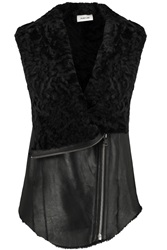 Helmut Lang Hooded Shearling Gilet Black