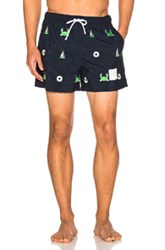 Thom Browne Fun Mix Icon Embroidered Swim Trunks In Blue
