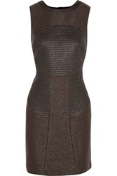 M Missoni Raffia Paneled Cotton Blend Dress Dark Brown