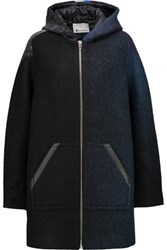 Alexander Wang T By Leather Trimmed Striped Wool Blend Hooded Jacket Emerald