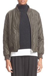 Vince Women's Quilted Bomber Jacket Olive