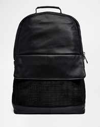 Asos Leather Backpack With Suede Embossed Front Pocket Black