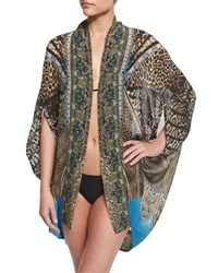Open Front Printed Silk Cardigan Cape Coverup Rapturous Women's Camilla