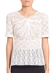 Oscar De La Renta Gathered Eyelet Blouse White