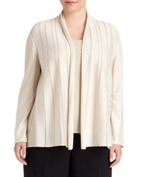 Lafayette 148 New York Shawl Collar Sheer Stripe Cardigan Light Beige