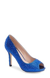 Women's Lauren Lorraine 'Paula' Peep Toe Pump Blue Sparkle