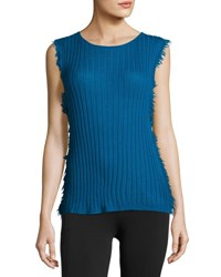 Helmut Lang Sleeveless Ribbed Cashmere Pullover Sweater Blue