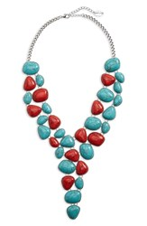 Natasha Stone Bib Necklace Turquoise Red