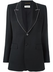 Saint Laurent Embellished Trim Lapel Blazer Black