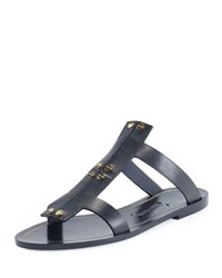 Tom Ford Studded Leather Flat Sandal Black