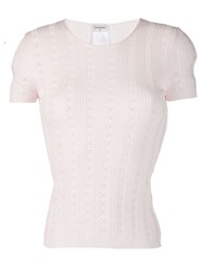 Chanel Vintage 2005'S Perforated Cc Knitted Top Pink