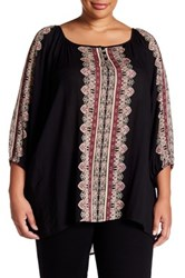 Angie 3 4 Sleeve Printed Blouse Plus Size Multi