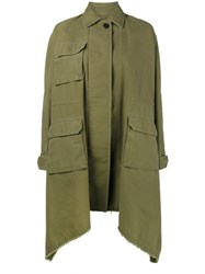Valentino Long Caban Parka Coat Women Cotton Linen Flax 38 Green