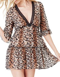 Betsey Johnson Leopard Lace Tiered Slip Dress