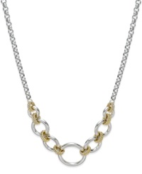 Alfani Two Tone Textured Chain Frontal Necklace