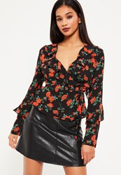 Missguided Black Poppy Floral Wrap Top