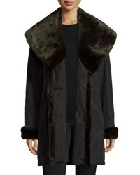 Jane Post Faux Fur Trim Double Breasted Coat Black Brown Black Brown