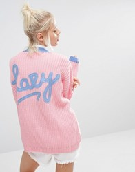 Lazy Oaf College Cardigan In Knitted Rib With Logo Back Pink