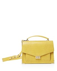 The Kooples Emily Croc Embossed Leather Maxi Crossbody Yellow