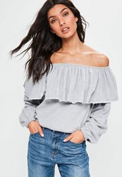 Missguided Petite Grey Ruffle Bardot Sweatshirt