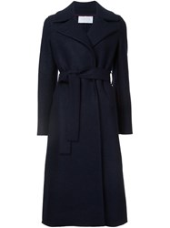 Harris Wharf London Long Belted Coat Blue