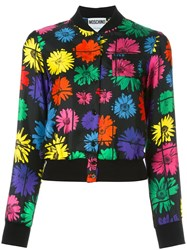 Moschino Floral Bomber Jacket Black
