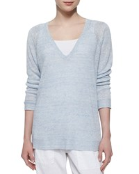 Eileen Fisher Long Sleeve Speckled Linen Tunic Blue